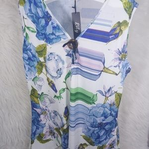 Lily by Firmiana 4XL Blue Floral Tunic #A4